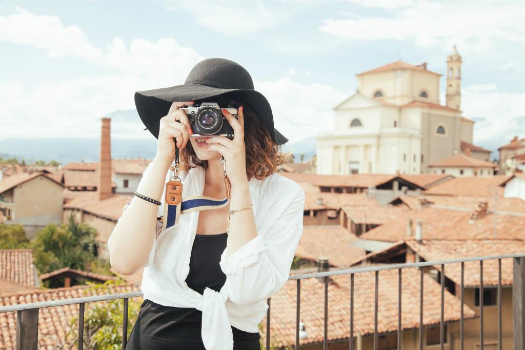 旅行を楽しむ女性