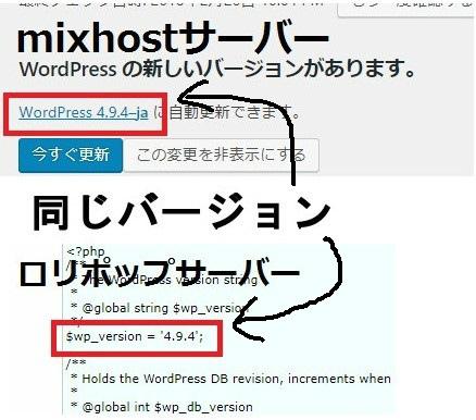 同じwordpressのバージョン