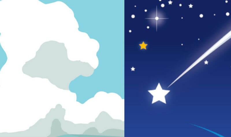 積乱雲と彗星