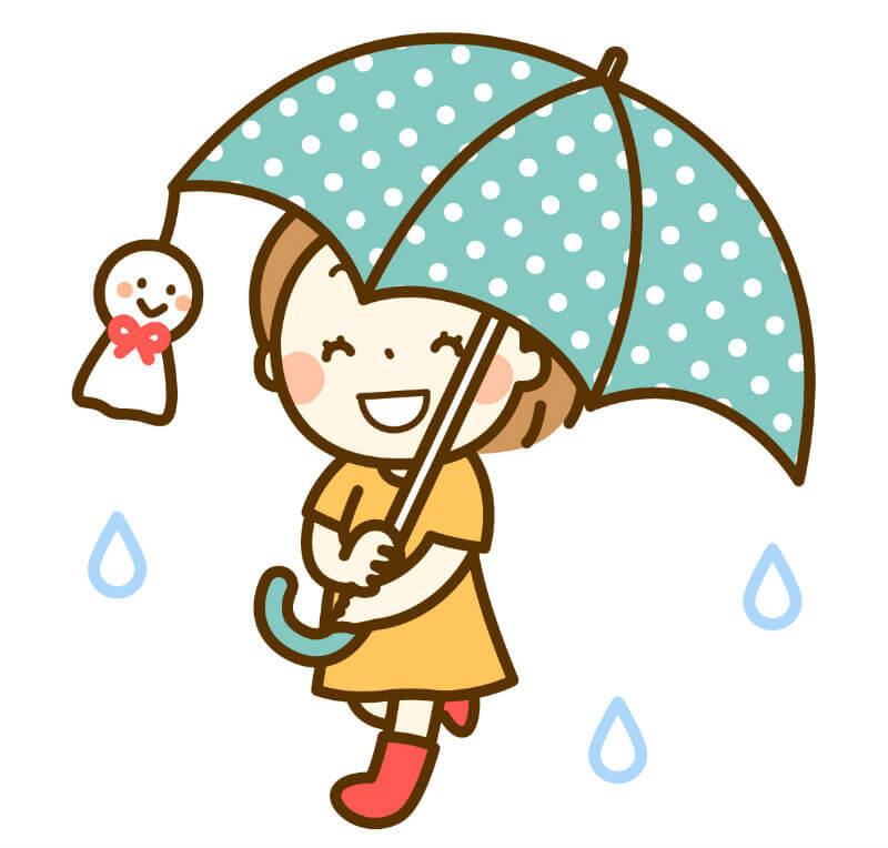 傘とてるてる坊主と女の子