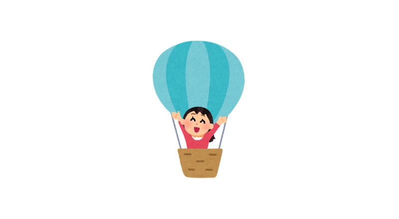 気球に乗った女性