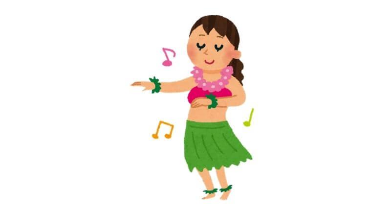 フラダンスしてる女性